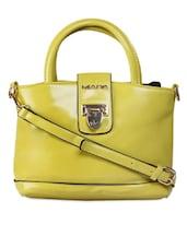 Solid Yellow Handbag With Shield Button Closure - KIARA