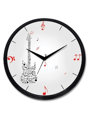 Cartoonpur Analog Round 11 Inch Musical Guitar Wall Clock with Glass