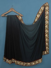 Black Georgette Saree With Embroidered Border - Admyrin