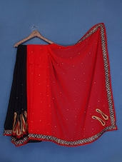Embellished Red And Black Georgette Saree - Admyrin