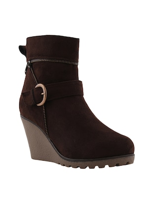 brown leatherette ankle  boot