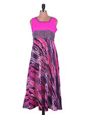 Pink And Black Printed Georgette Kurti - Admyrin
