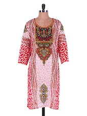 Red And White Printed Georgette Kurti - Admyrin