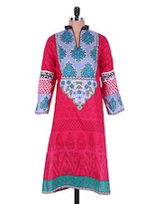 Pink Multi-print Collared Cotton Kurti - Admyrin