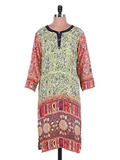 Light Green Digital Print Crepe Kurti - Admyrin