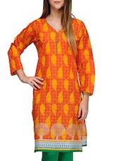 Orange Cotton Blend Kurta - By
