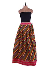 Multicolor Stripe Print Cotton Long Skirt - Admyrin