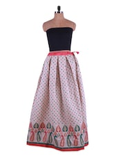 Polka Dot Print Cream Long Skirt - Admyrin