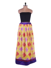 Printed Yellow Georgette Long Skirt - Admyrin