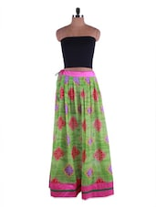 Printed Sap Green Georgette Long Skirt - Admyrin