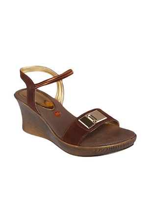Brown Leatherette Wedges
