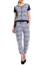 White - Dark Blue Printed Cotton Jumpsuit - TAB91