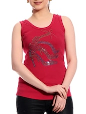 Red Sleeveless Cotton Top - TAB91