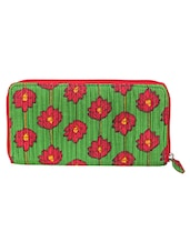 Green- Red Floral Print Wallet - JaipurSe