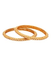 Golden Bangles With Pearls - Voylla