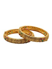 Gold Plated  Red & Green Stones Embellished Floral Etched Kada Set - Voylla