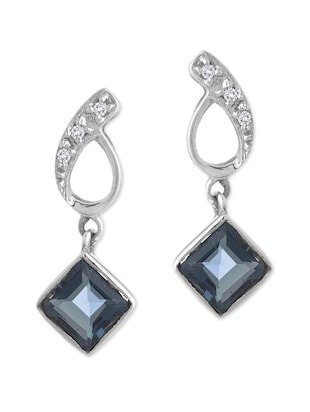 crystals &  Blue Sapphire embellished Sterling Silver Earrings