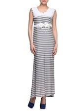 Striped Grey Sleeveless Maxi Dress - London Off