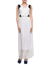 White Dress With Black Sleeves & Floral Applique - London Off