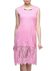 Pink Net Lace Midi Dress - London Off