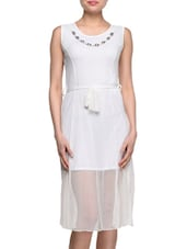 Net Round Neck Embellished Dress - London Off