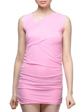 Pink Asymmetrical Neck Mini Sleeveless Dress - London Off