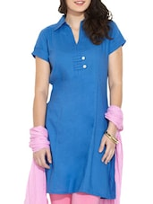 Blue Shirt Collar Cotton Kurti - Victor Brown