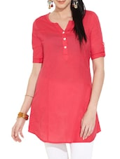 Red Button -Up Sleeves Cotton Tunic - Victor Brown