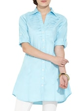 Aqua Blue Pintucked Shirt Collar Tunic - Victor Brown