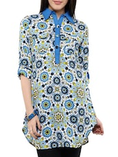 Blue Floral Printed Shirt Collar Tunic - Victor Brown