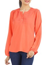 Orange Plain Pintucked Top - Victor Brown