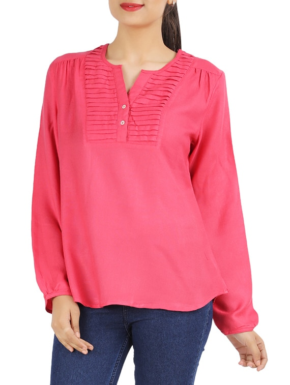 Pink Plain Pintucked Top - Victor Brown