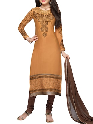 Pale Yellow and Brown  Cotton Semi-Stitched Salwar Suit