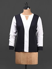 Color Block Long Sleeves Poly-crepe Top - Ridress