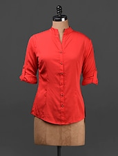 Solid Red Button-up Sleeves Crepe Top - Ridress