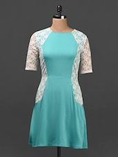Aqua Blue & White Lace A-line Dress - Ridress