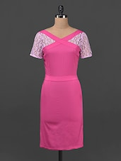 Pink Lace Cross Neck Bodycon Dress - Ridress