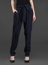 Navy Blue Polyester Pants - By