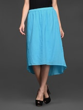 Blue Asymmetrical Cotton Skirt - Studio West