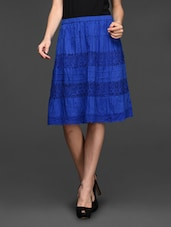 Blue Lace Insert Knee Length Skirt - Studio West
