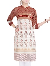 Off White & Red Cotton A Line Kurta - By