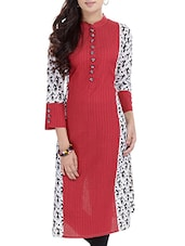 Maroon & Off White Cotton Kurta - By