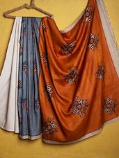 Orange And Grey Tussar Silk Saree - Kamaniya