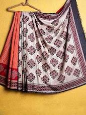Orange And Cream Tussar Silk Saree - Kamaniya