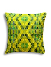 Yellow And Green Digital Printed Cotton Cushion Cover - By