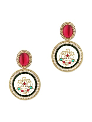 Adwitiya Collection 24K gold plated red embellished earrings