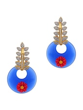 Adwitiya Collection 24K gold plated royal blue embellished flower earrings -  online shopping for earrings