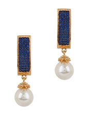 Adwitiya Collection 24K Gold Plated Royal Blue Embellished Drop Earrings - By