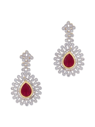 Adwitiya Collection 24K gold plated red stone embellished drop earrings