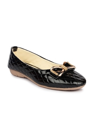 Black patent leather slip on ballerina
